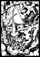 Hand drawn Oni Japanese creature illustration