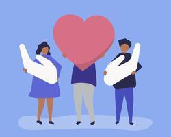 Leute, die Herz- und Handikonen halten