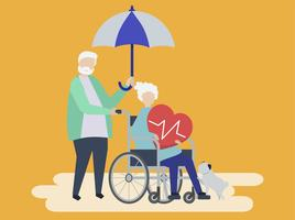 Senior couple with health insurance-related icons
