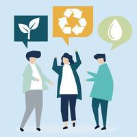 Personas con ideas de conservación ambiental.