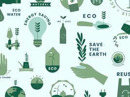 Set med organiska och gå gröna ikoner
