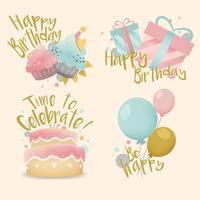Raccolta di vettori colorati compleanno distintivo