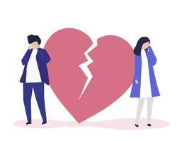 Ilustração de personagem de casal com um ícone de desgosto