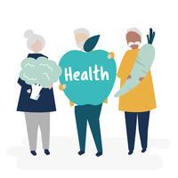 Karakters van gepensioneerde senioren en gezondheid concept illustratie