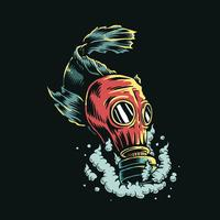 Tragende Gasmaske der Fische in der Illustration des verschmutzten Wassers