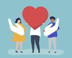 Mensen houden van hart en hand pictogrammen