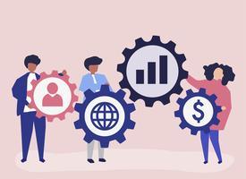 Ilustración de personaje de gente de negocios con iconos de estrategia