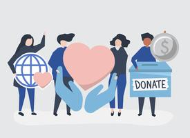 People carrying donation and charity related icons