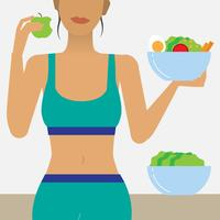 Woman eating healthy food illustration
