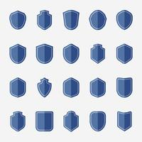 Set of blue shield icon vectors