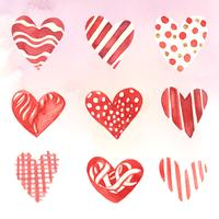 Heart icons watercolor illustration set