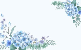 Biglietto di auguri a tema blu con fiori