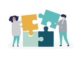 Il carattere di una coppia che risolve il puzzle collega l'illustrazione