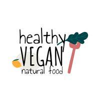 Vector de comida natural vegana saludable