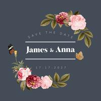 Ilustração de cartão floral de convite de casamento