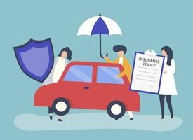 Personnages et icônes d'assurance voiture