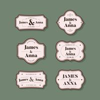 Collection of classic style wedding invitation badges