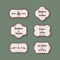 Collezione di badge di invito matrimonio stile classico