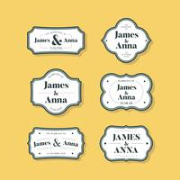 Set of classic style wedding invitation badges
