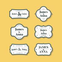 Conjunto de emblemas de convite de casamento de estilo clássico