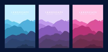 Colorful landscape gradient poster template
