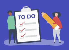 People making a to-do list illustration