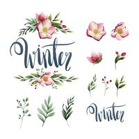Winter aquarel kalligrafie typografie vector