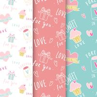 Love expressions seamless background vector set