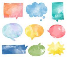 Ensemble de vecteur de bulles de discours aquarelle coloré