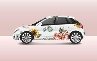 Disegno floreale su un vettore di auto berlina