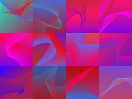 Sats med färgstarkt vibrerande 3D-våggrafik