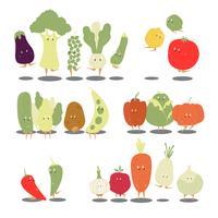 Olika ekologisk grönsakstecknad tecknad vektor set
