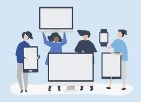 Character illustration of people with different digital devices