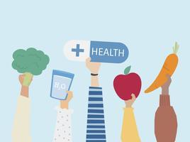 People holding health symbols illustration