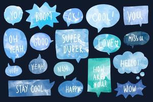 Set of watercolor speech bubbles vector