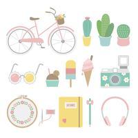 Set van leuke en meisjesachtige pictogrammen