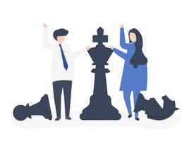 Business people with giant chess pieces