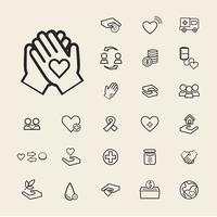 Illustration av donation support icons set