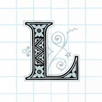 Huvudstämpel L vintage typografi stil