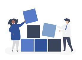 Teamwork-Konzeptillustration von Bausteinen eines Paares zusammen