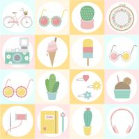 Set of fun and girly icons