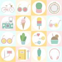 Set di icone divertenti e girly