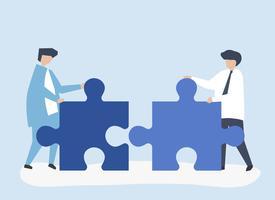 Collega's die puzzelstukjes aan elkaar verbinden