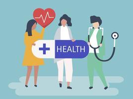 Personajes de personas con iconos de salud ilustración