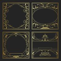 Set van vintage gouden art nouveau elementen vector