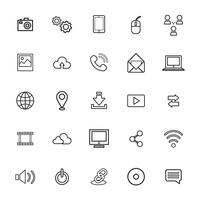 Illustration of technology icons set