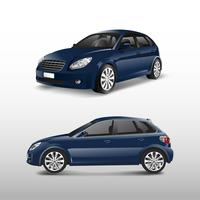 Blue hatchback car isolated on white vector