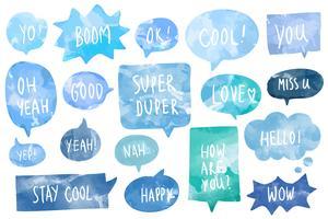 Satz Aquarellsprache sprudelt Vektor