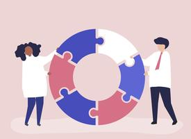 People carrying jigsaw pieces of a donut chart vector