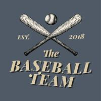 The baseball team logo design vector